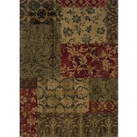 Ellington Green/Red Transitional Area Rug - 7'8 x 10'10