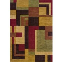 Ellington Red/Gold Contemporary Area Rug (7'8 x 10'10)