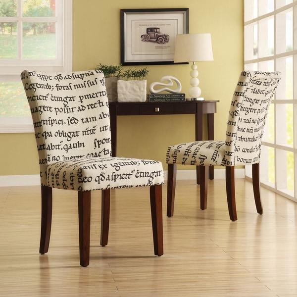 Parson Latin Script Linen Chairs (Set of 2)