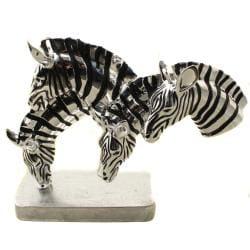 Grazing Zebras Table Sculpture Decor - Thumbnail 1