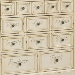 Hand-painted Rustic Cream Finish Accent Chest