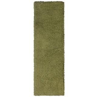 Manhattan Green/ Tan Shag Area Rug (2'3 x 7'9)