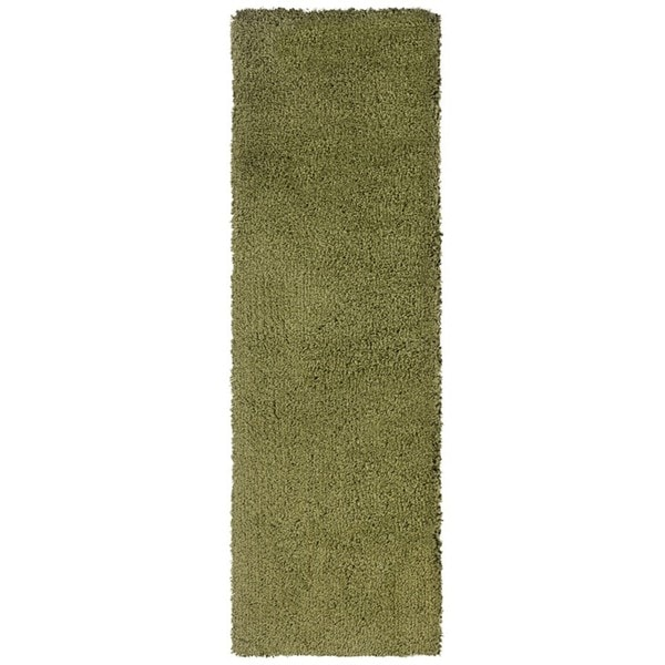 Manhattan Green/ Tan Shag Area Rug (2'3 x 7'9)
