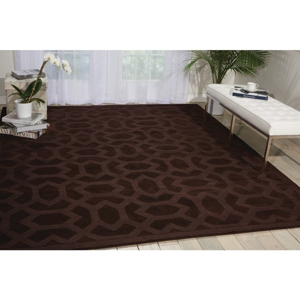 "Nourison Hand-tufted Barcelona Brown Rug - 7'9"" x 9'9"""