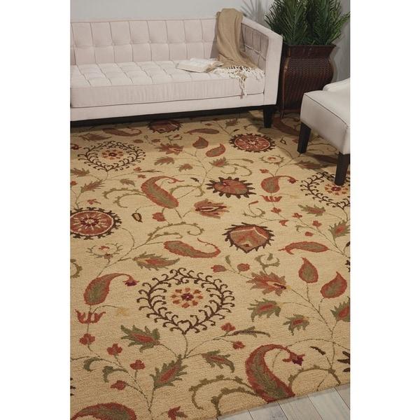 Nourison Hand Tufted Marbella Wool Beige Rug (5'0 x 7'6) - 5' x 7'6