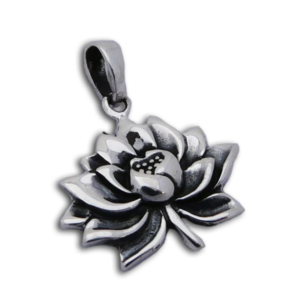 Handmade Sterling Silver Water Lily Pendant (Thailand)