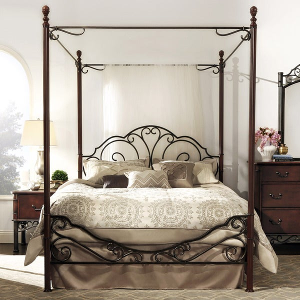 LeAnn Graceful Scroll Iron Metal King Canopy Poster Bed by iNSPIRE Q Classic & LeAnn Graceful Scroll Iron Metal King Canopy Poster Bed by iNSPIRE ...