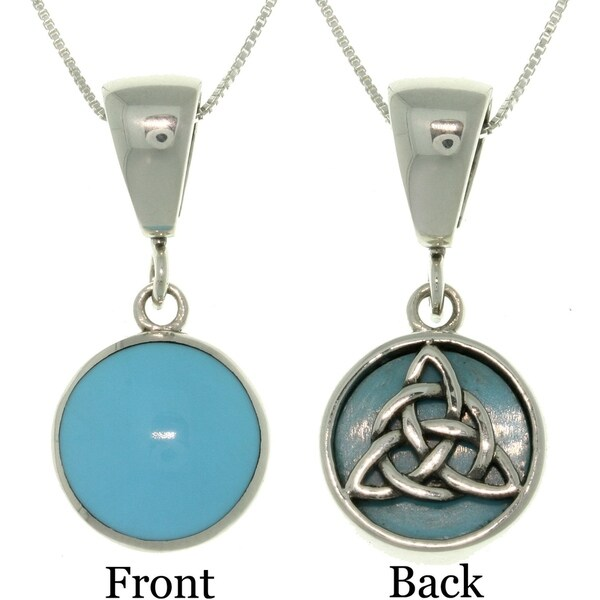 Sterling-Silver Celtic-Knot Reversible Necklace with Turquoise Accents - Silver