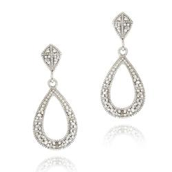 DB Designs Sterling Silver White Diamond Accent Teardrop Dangle Earrings