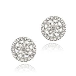 DB Designs Sterling Silver White Diamond Accent Star Earrings