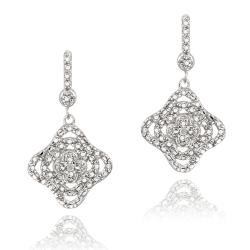 DB Designs Sterling Silver White Diamond Accent Floral Dangle Earrings