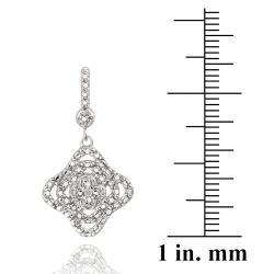 DB Designs Sterling Silver White Diamond Accent Floral Dangle Earrings - Thumbnail 2