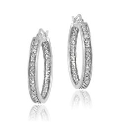 DB Designs Sterling Silver 1/5ct TDW Diamond Round Hoop Earrings