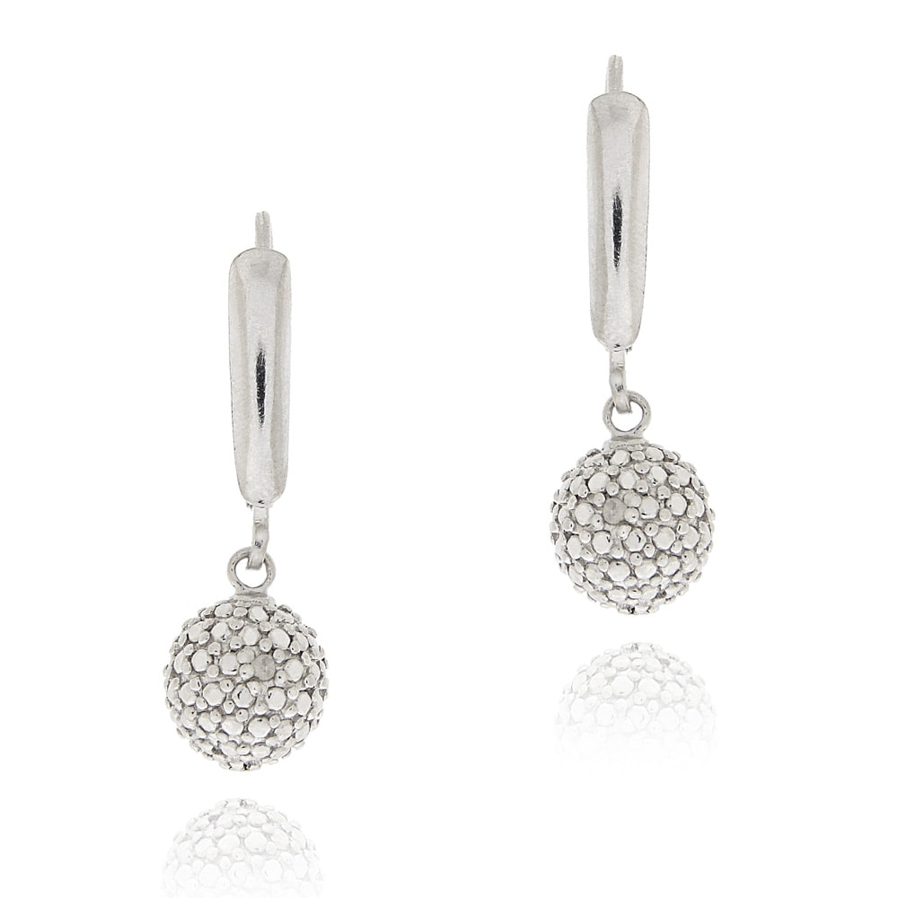 DB Designs Sterling Silver White Diamond Accent Leverback Ball Dangle Earrings