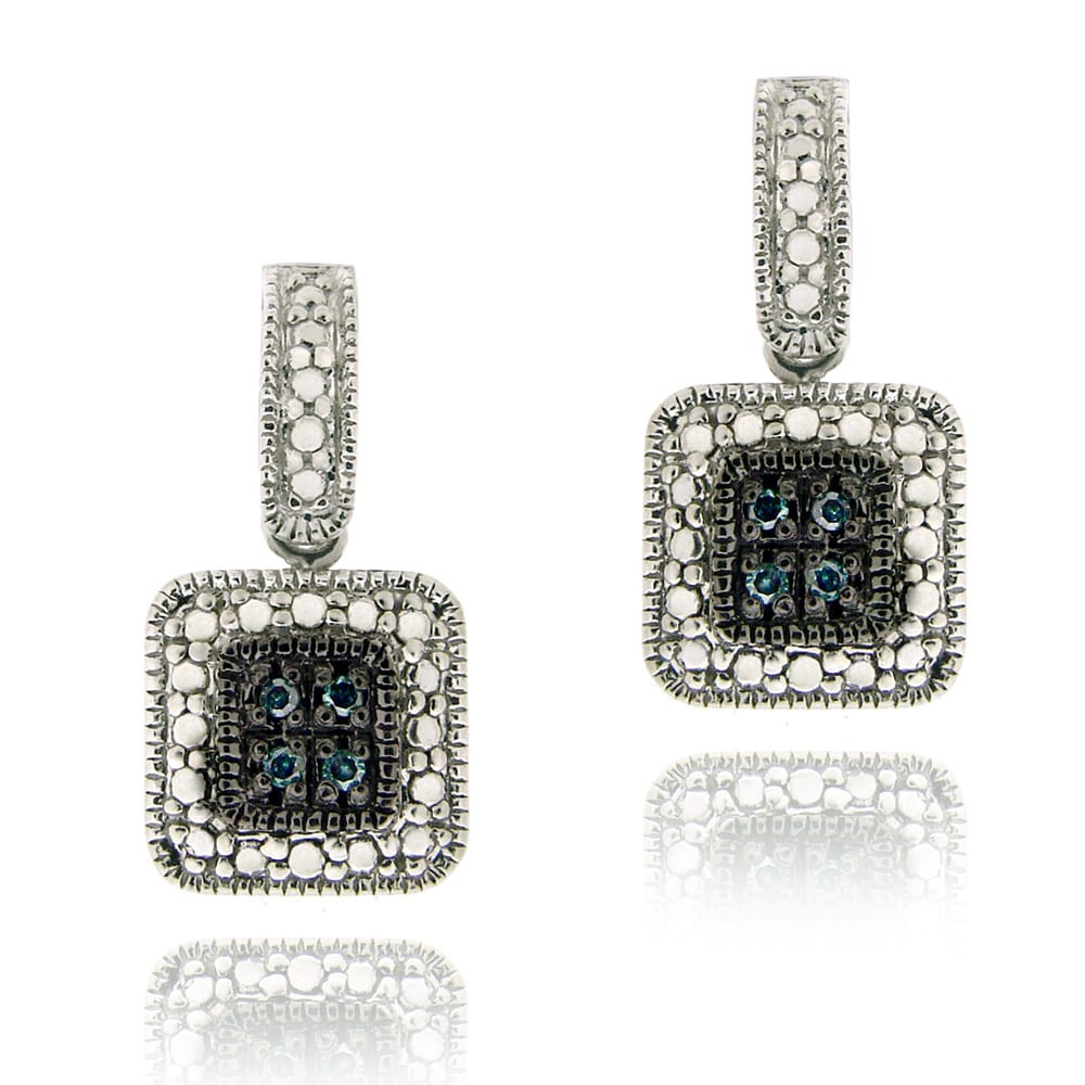 DB Designs Sterling Silver 1/10ct TDW Blue Diamond Square Dangle Earrings
