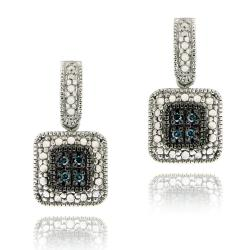 DB Designs Sterling Silver 1/10ct TDW Blue Diamond Square Dangle Earrings