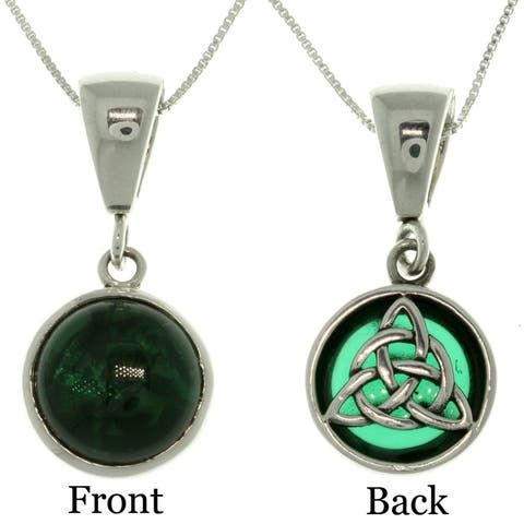 Sterling Silver Celtic Knot Reversible Necklace - Green