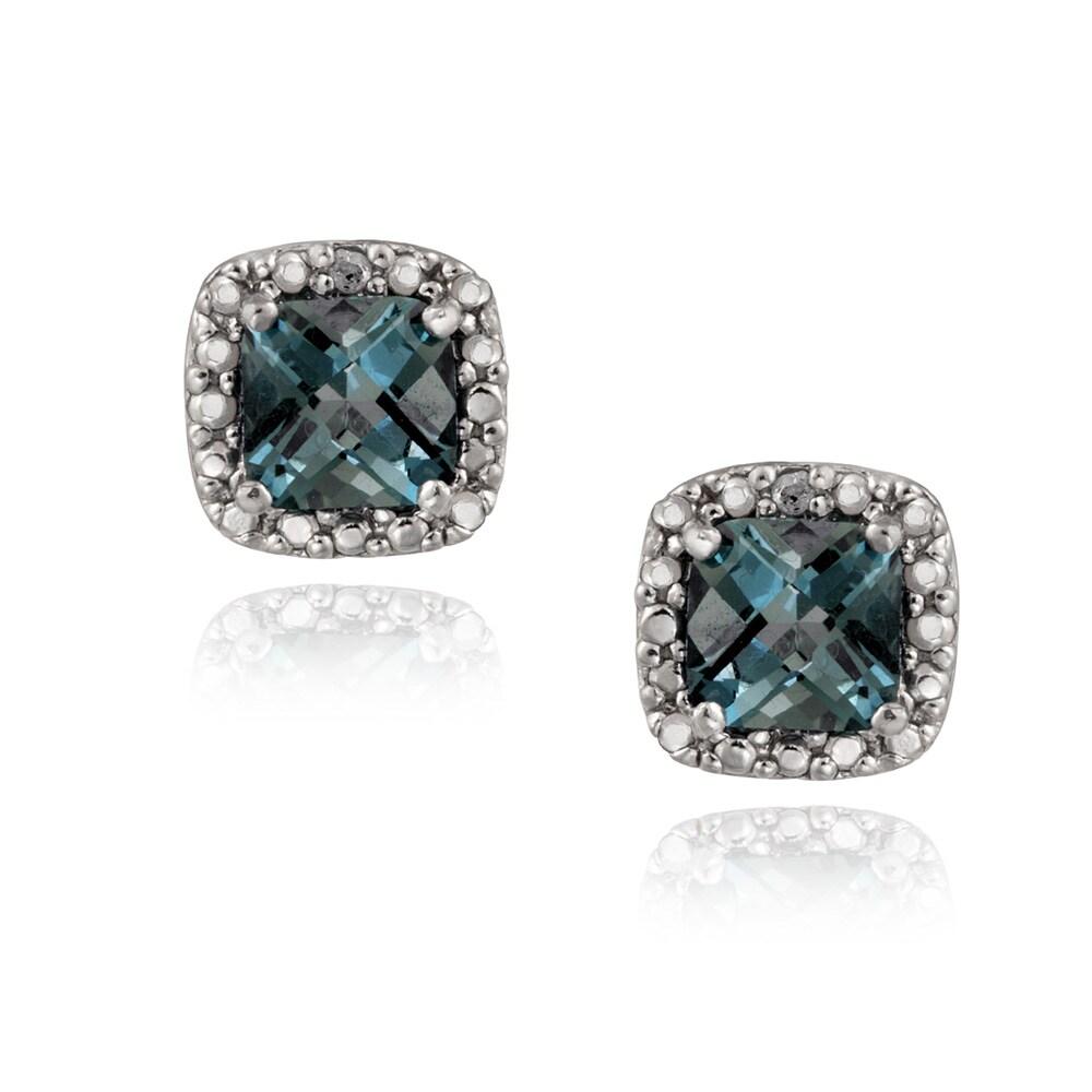 Glitzy Rocks Silver London Blue Topaz And Diamond Accent Earrings