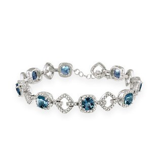 Glitzy Rocks Silver 8 CTW London Blue Topaz and Diamond Accent Bracelet