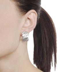 Journee Collection Silvertone CZ Brushed Finish Earrings
