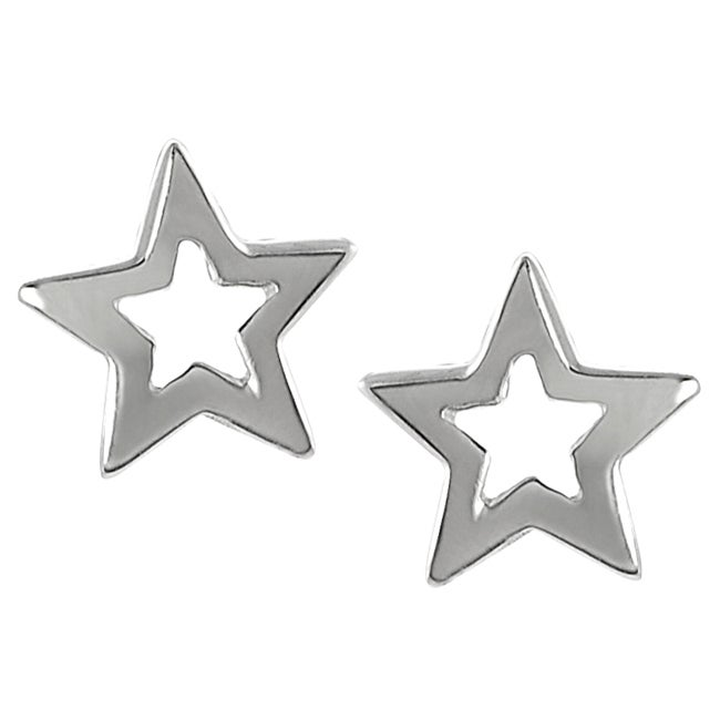 Journee Collection  Sterling Silver Star Earrings