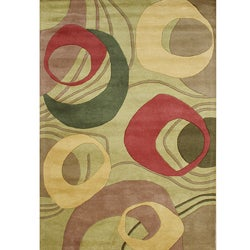 Alliyah Handmade Amber Green New Zealand Blend Wool Rug 8x10