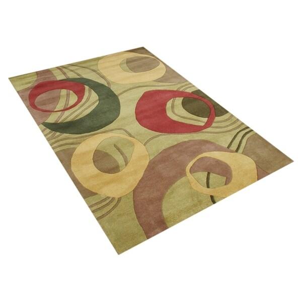 Alliyah Handmade Amber Green New Zealand Blend Wool Rug - 5' x 8'