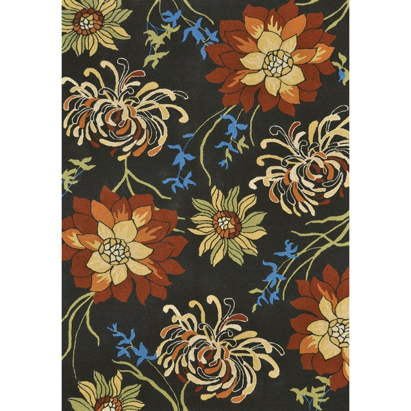 Hand-hooked Coventry Black Floral Indoor/ Outdoor Rug (3'6 x 5'6)