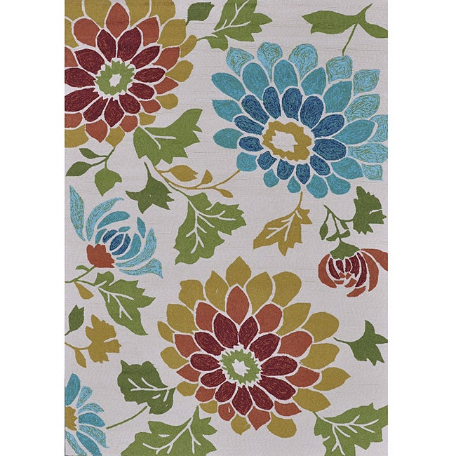 Hand-hooked Coventry Ivory Floral Indoor/ Outdoor Rug (5' x 7'6)