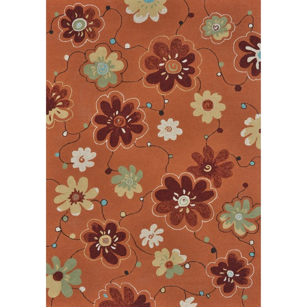 Hand-hooked Coventry Spice Floral Indoor/ Outdoor Rug (5' x 7'6)