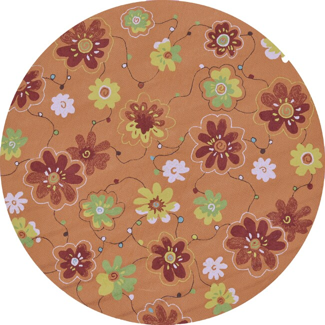 Hand-hooked Coventry Spice Floral Indoor/ Outdoor Rug (7'10 Round)