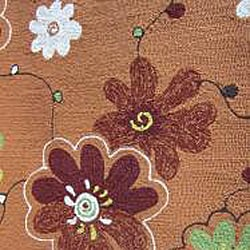 Hand-hooked Coventry Spice Floral Indoor/ Outdoor Rug (7'10 Round) - Thumbnail 1