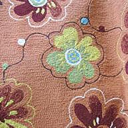 Hand-hooked Coventry Spice Floral Indoor/ Outdoor Rug (7'10 Round) - Thumbnail 2