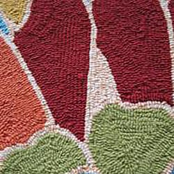 Hand-hooked Coventry Blue Floral Indoor/ Outdoor Rug (7'6 x 9'6) - Thumbnail 2