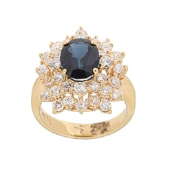 Kabella 18K Yellow Gold Oval Sapphire and 1-7/8CT TDW Diamond Ring (H-I, SI1-SI2)