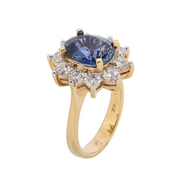 Kabella 18k Yellow Gold Sapphire and 1 3/5ct TDW Diamond Ring (H-I, I1-I2)