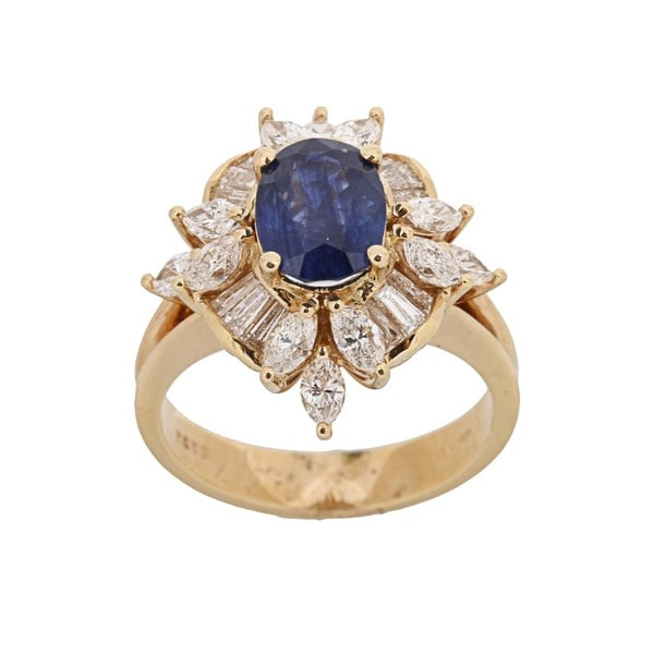 Kabella 18k Yellow Gold Sapphire and 1 2/5ct TDW Diamond Ring (H-I, VS1-VS2)