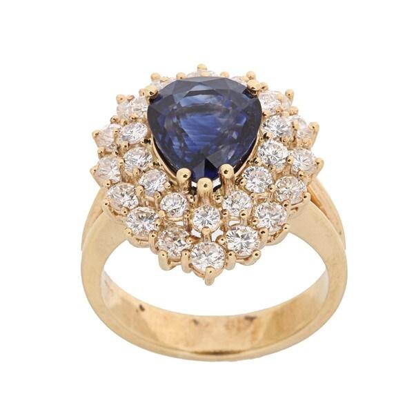 Kabella 18k Yellow Gold Sapphire and 1 4/5ct TDW Diamond Ring (H-I, VS1-VS2)