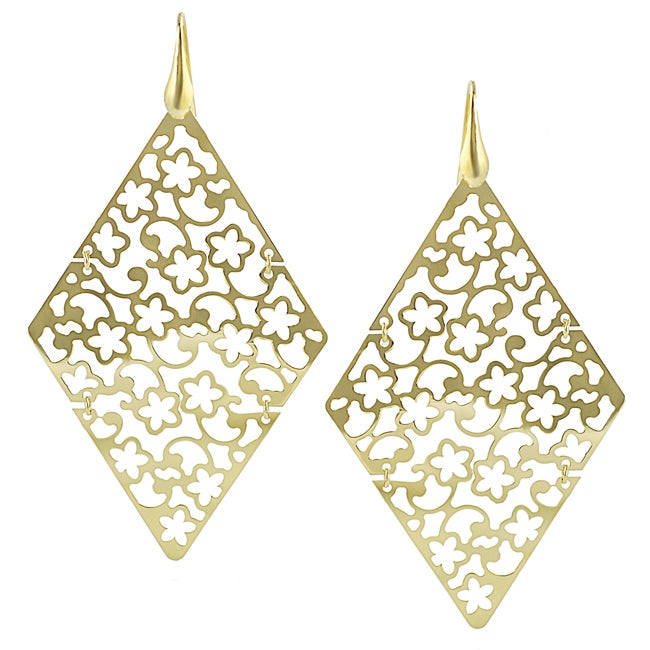 Journee Collection  Goldplated Sterling Silver Diamond-shaped Flower Dangle Earrings