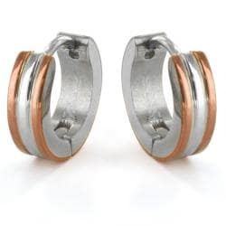 Two Tone Stainless Steel Men S Hoop Earrings Free Shipping On Orders Over 45 6237502