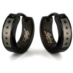 Black Plated Stainless Steel Star Print Hoop Earrings