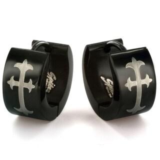Blackplated Stainless Steel Cross Print Hoop Earrings