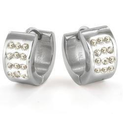 Stainless Steel Pav Cubic Zirconia Stud Cuff Earrings