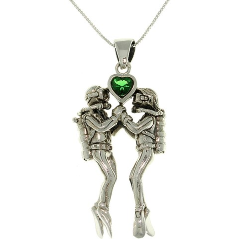 Sterling Silver Sea-Life Scuba Divers Heart Necklace - Green