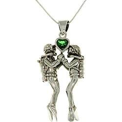 Carolina Glamour Collection Sterling Silver Sea-Life Scuba Divers Heart Necklace