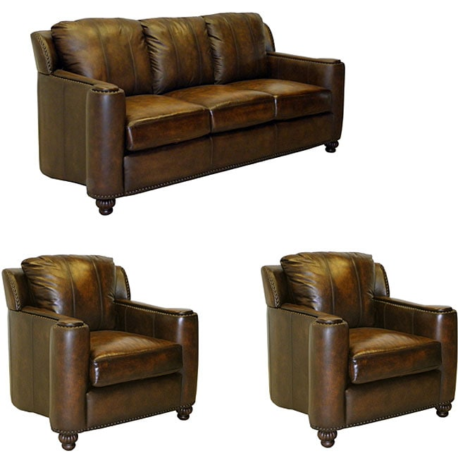 Sedona Hand-rubbed Brown Italian Leather Sofa and Two Chairs - Thumbnail 0