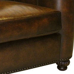 Sedona Hand-rubbed Brown Italian Leather Sofa and Two Chairs - Thumbnail 1