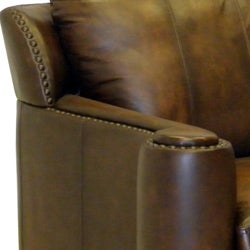 Sedona Hand-rubbed Brown Italian Leather Sofa and Two Chairs - Thumbnail 2