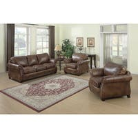 Sterling Cognac Brown Italian Leather Sofa and Two Chairs