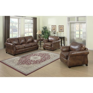 Link to Sterling Cognac Brown Italian Leather Sofa and Two Chairs Similar Items in Living Room Furniture